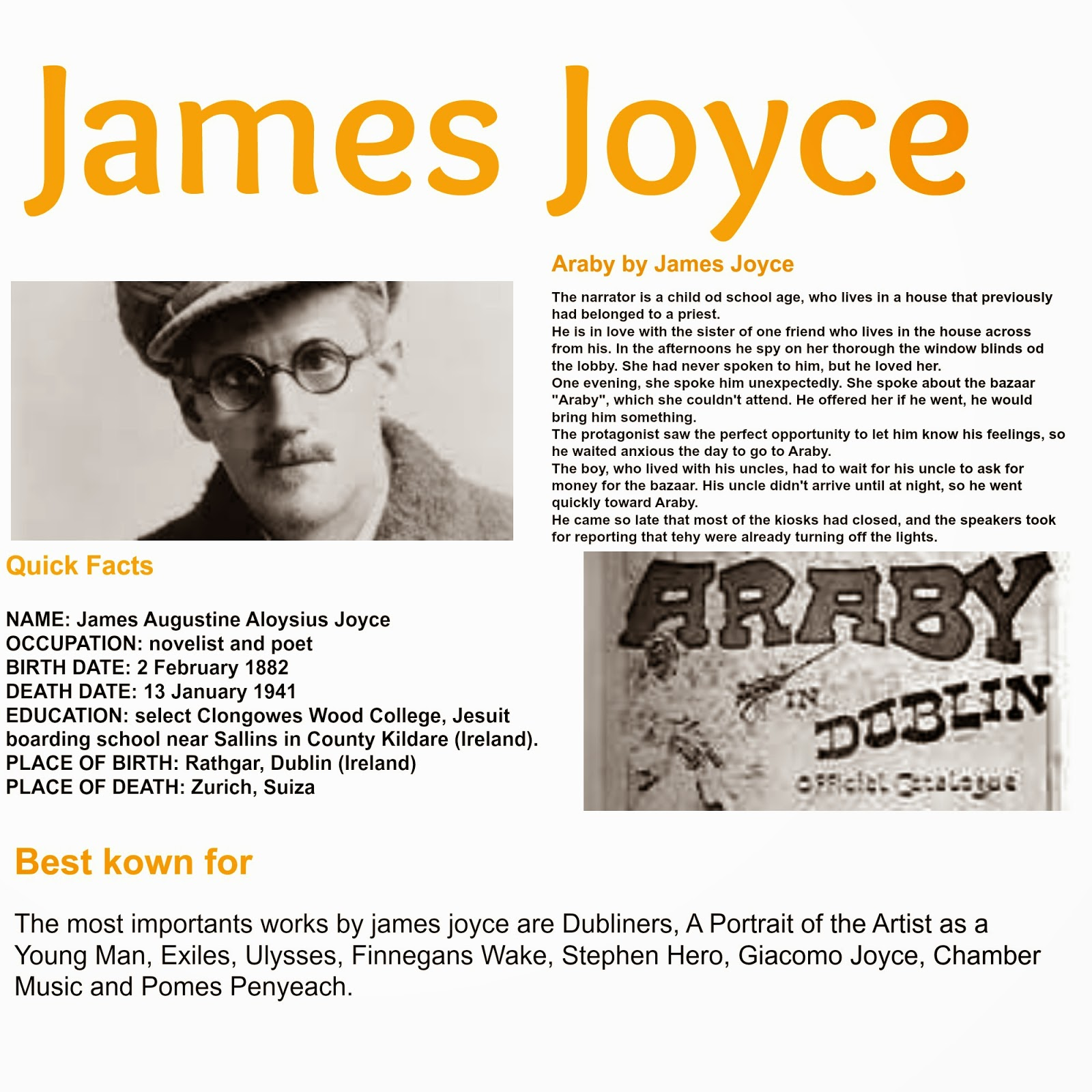 james joyces araby Araby is a short story by james joyce published in his 1914 collection dubliners plot through first-person narration, the reader is immersed at the start.