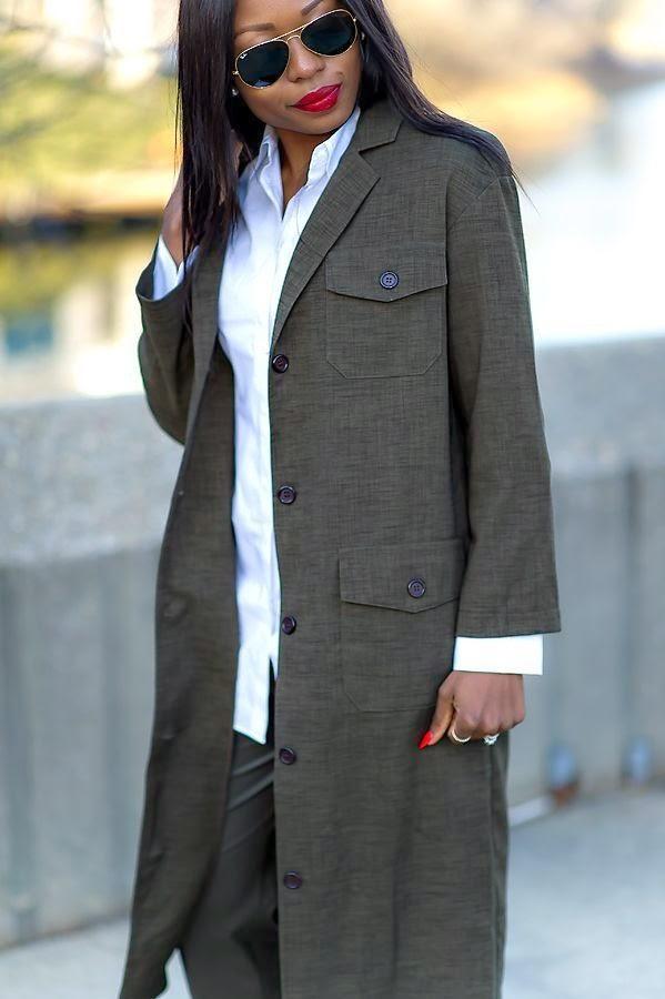 Military style maxi coat