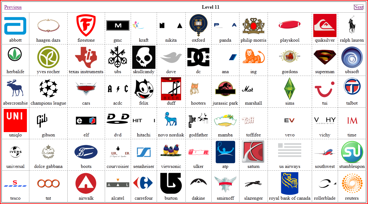 Android Logo Quiz games from level 11 and 12. Click on the to enlarge