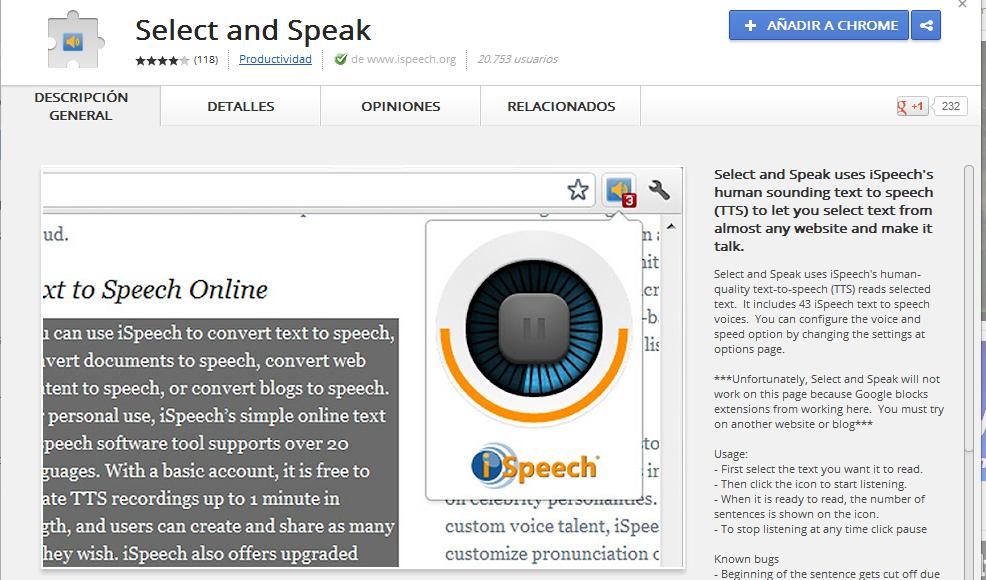 Ejemplo de página Web con texto seleccionado y leído con Select and Speak