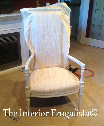 Vintage High Back Throne Arm Chair attaching new fabric
