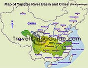 Map of Yangtze River Basin and Cities
