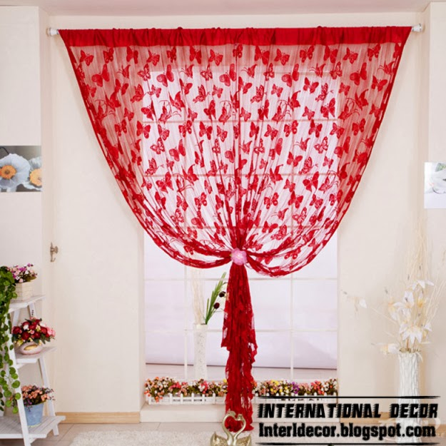 red curtains, butterfly curtain, sewing curtains