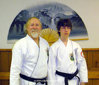Nicholas Demoskoff with his karate Sensei