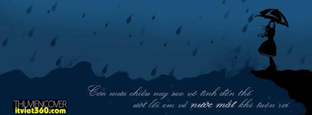 Ảnh bìa cho Facebook mưa | Cover FB timeline rain, cô gái đứng buồn dưới mưa rơi