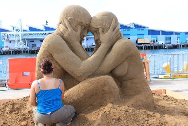 Sue McGrew's sculpture of a loving couple at the U.S Sand Sculpting Challenge 2012 in San Diego, California, USA