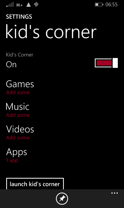 Kid's Corner in Windows Phone 8.1