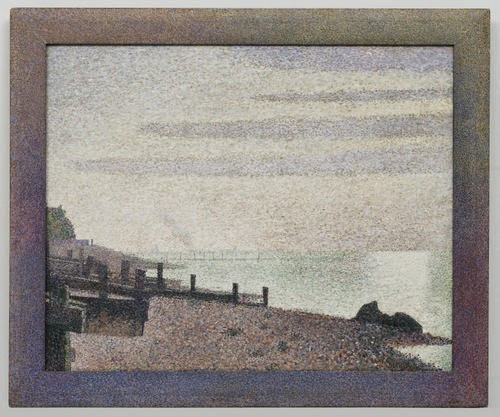 Georges-Pierre Seurat, Evening Honfleur spots colours  beautiful beach frame