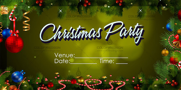 Christmas Party Tarpaulin PSD Template Yellow