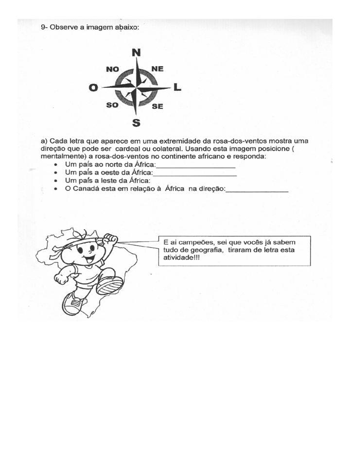 SÉRIES INICIAIS Avaliação de Geografia para o 5º ano ~ Rosa Dos Ventos Quarto Ano
