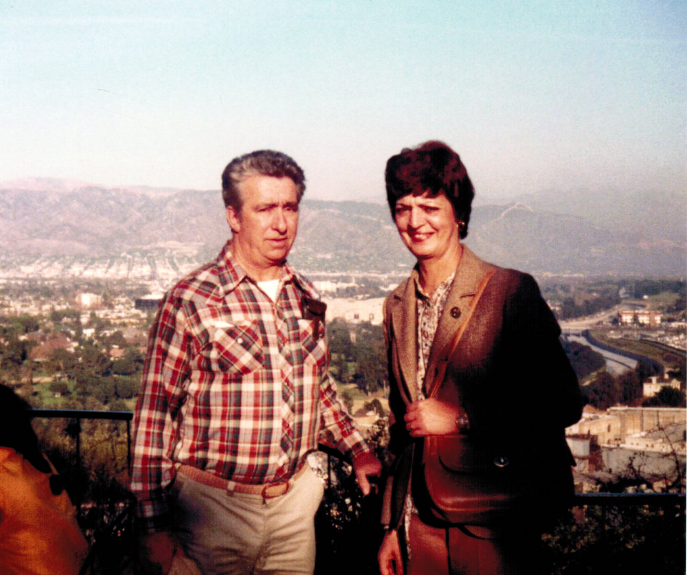Maurice and Jacqueline Belair overlooking Hollywood 1980