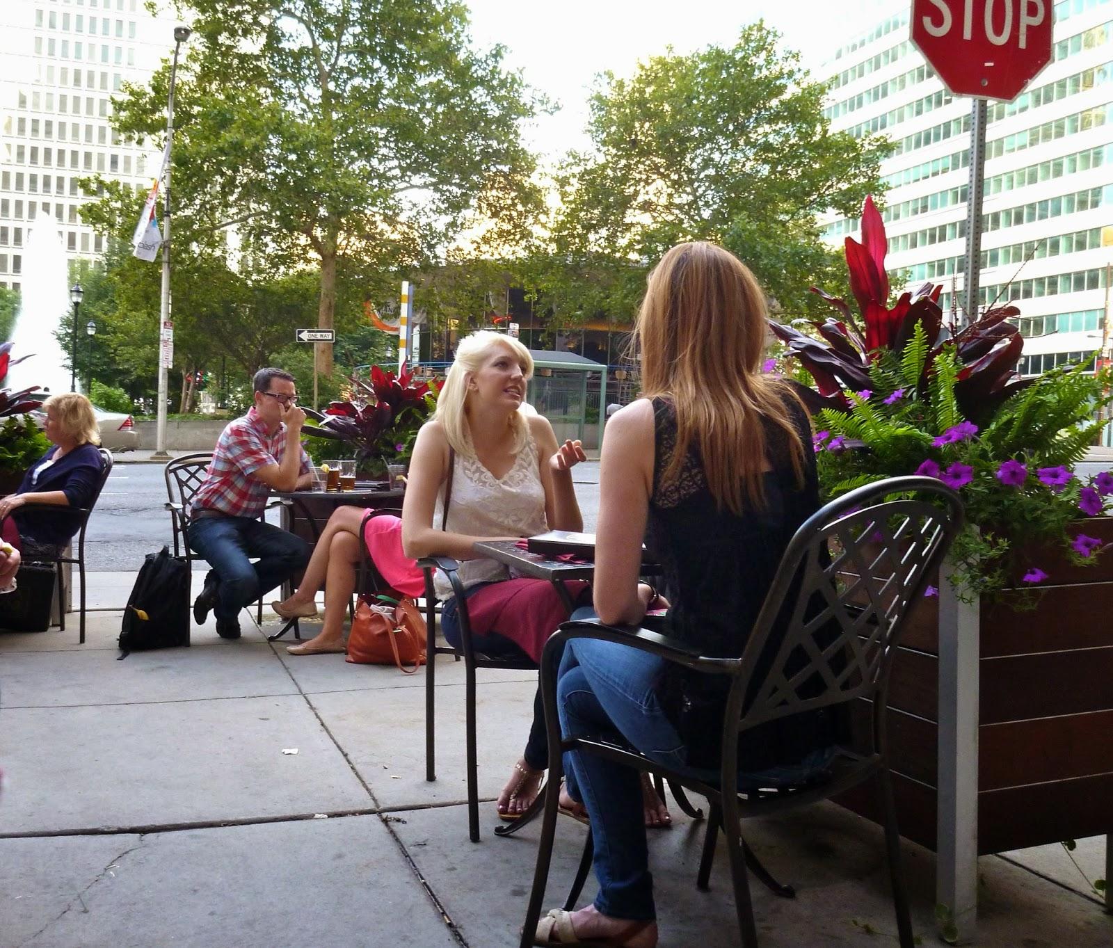 People dining outside in Philadelphia.