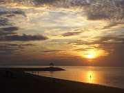 . beautiful beach, sea background, sunset beach, tropical beach (sanur beach sunrise safari and indonesia tourism)