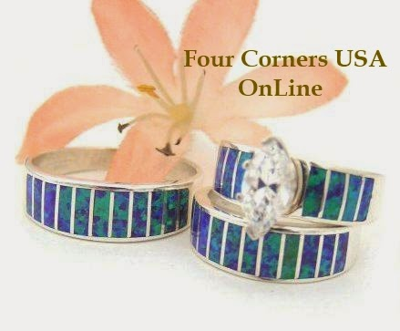 Purple Fire Opal Native American Wedding Rings Bands Bridal Engagement Sets
