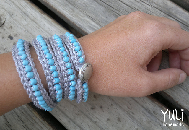 Tangled Happy Wrap Around Crochet Bracelet