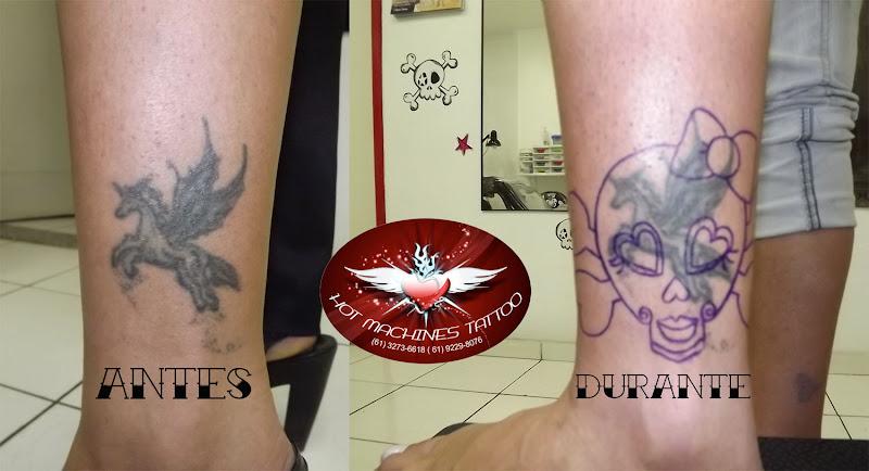 Tattoo Cobertura de Pégasus Caveira feminina title=