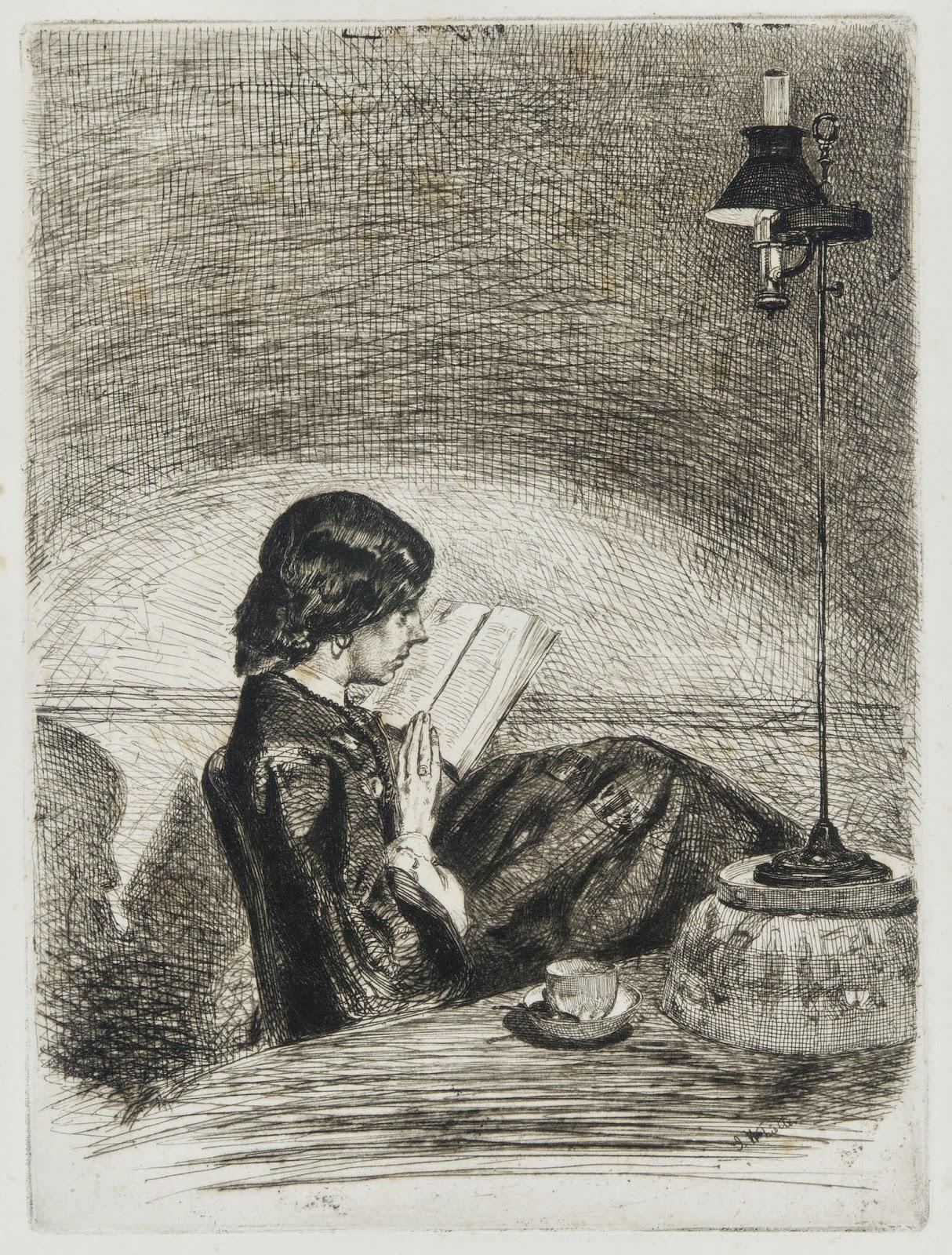 James McNeill Whistler, Leyendo a la luz de la lámpara