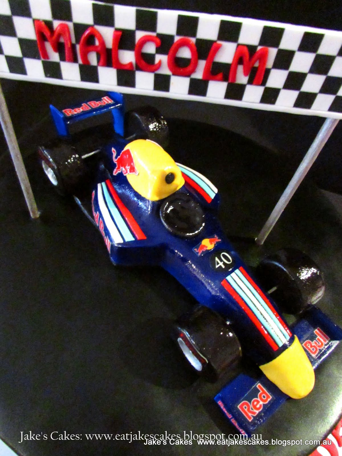 Jakes Cakes Red Bull Formula one racing car cake