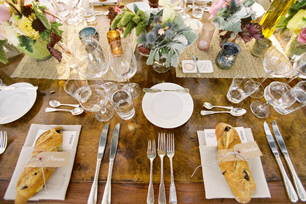 I love the baguettes used in this table setting very different and yummy by ElizabethAnneDesigns & Barefoot Contessau0027s French Table Scape and More