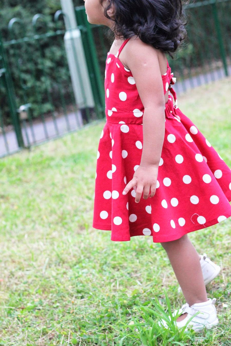 Polka dots circle skirt dress