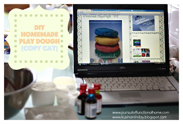 DIY Homemade Play Dough (Copy Cat), Ingredients on the table with Laptop beside it.