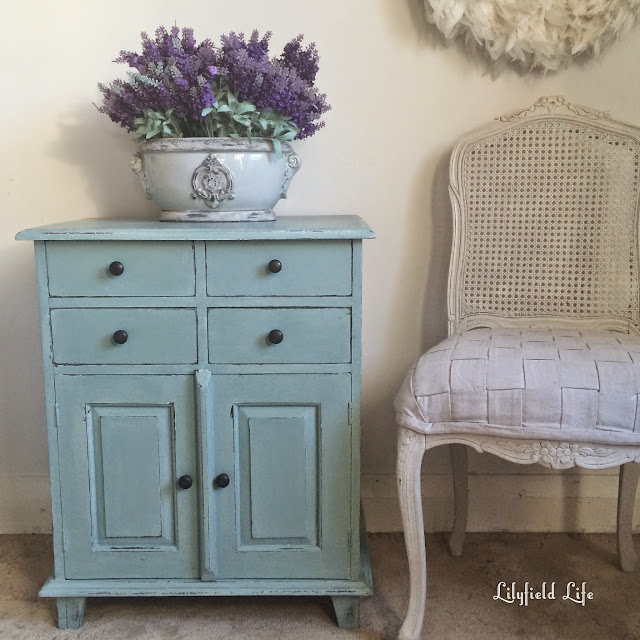 Turquoise rustic cupboard and 4 drawers.