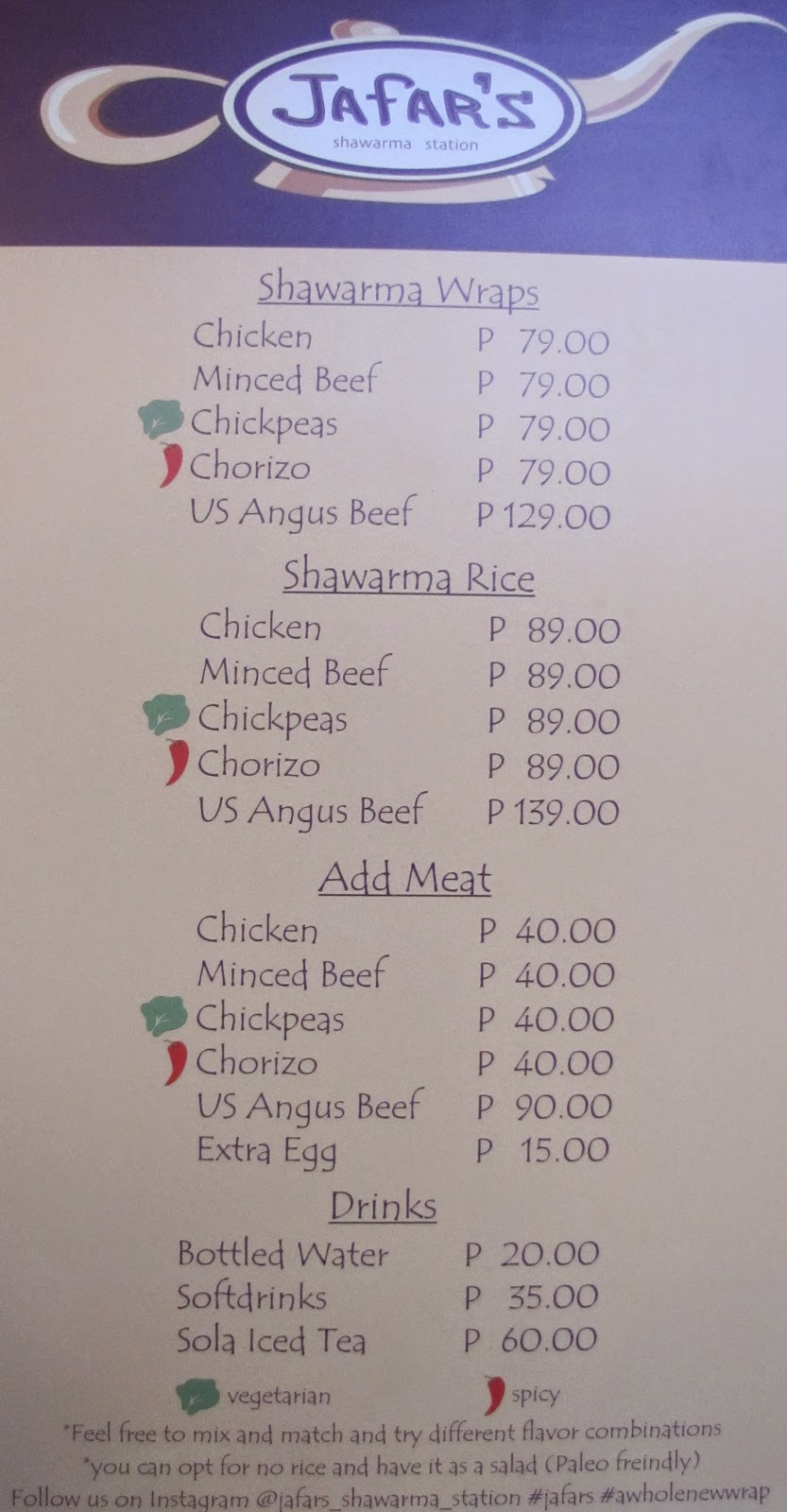 Jafar's Menu, Jafar's Shawarma Station Menu, FTW! blog, #032eatdrink , cebu foodscene