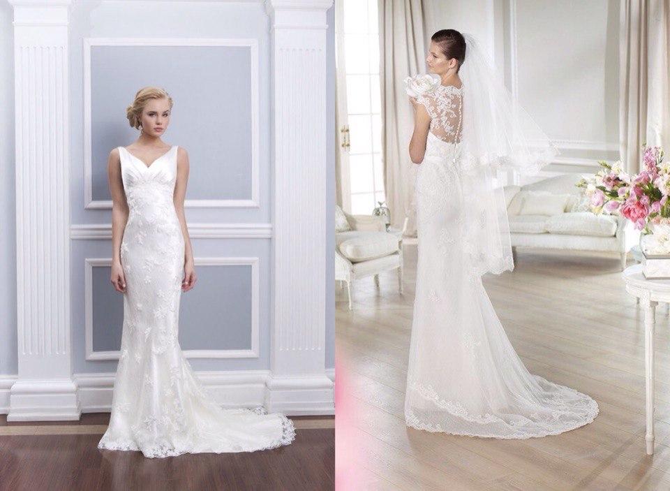 Свадебное платье с гипюром и шлейфом