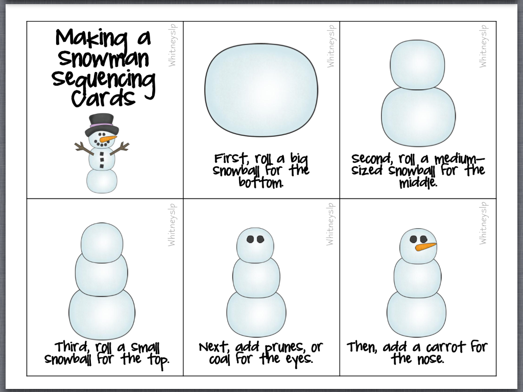 Sequence the steps for how to make a snowman!