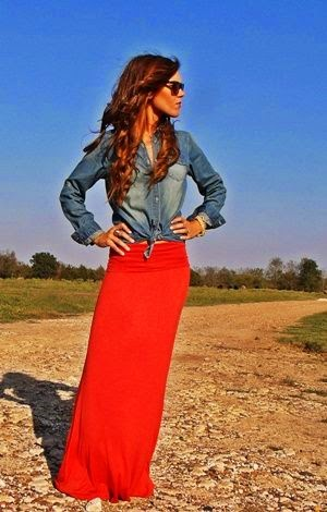 i love my denim shirt & red dress for lovely woman
