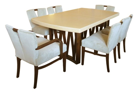 Cork And Mahogany Table With Plunging Neckline Chairs By Paul Frankl  1stdibs.com