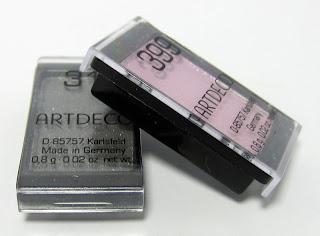 Artdeco-Swatches und rosa Glitzerfrust