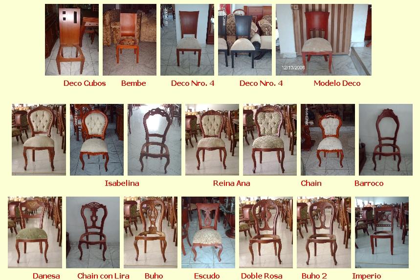 Juegos de comedor for Catalogo de sillas de madera