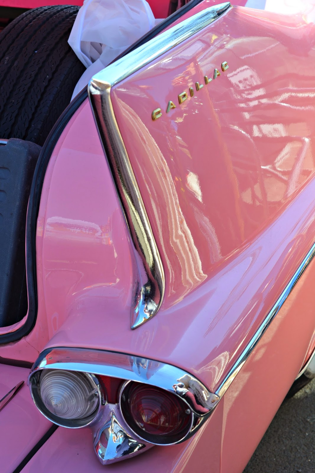 Pink Cadillac Tail Fin at the london classic car boot sale southbank