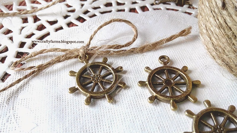 Vintage Bronze Nautical Wheel Charm with Burlap Jute String, Wedding Embellishment Malaysia