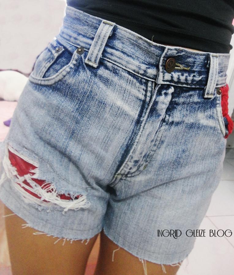 estraguei calça, calça destroyed, shorts customizado, shorts com renda, rasguei demais a calça o que fazer
