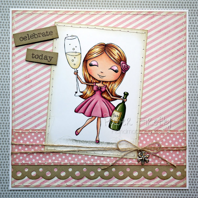 Girly celebration card featuring Party Zara by Digi Stamp Boutique