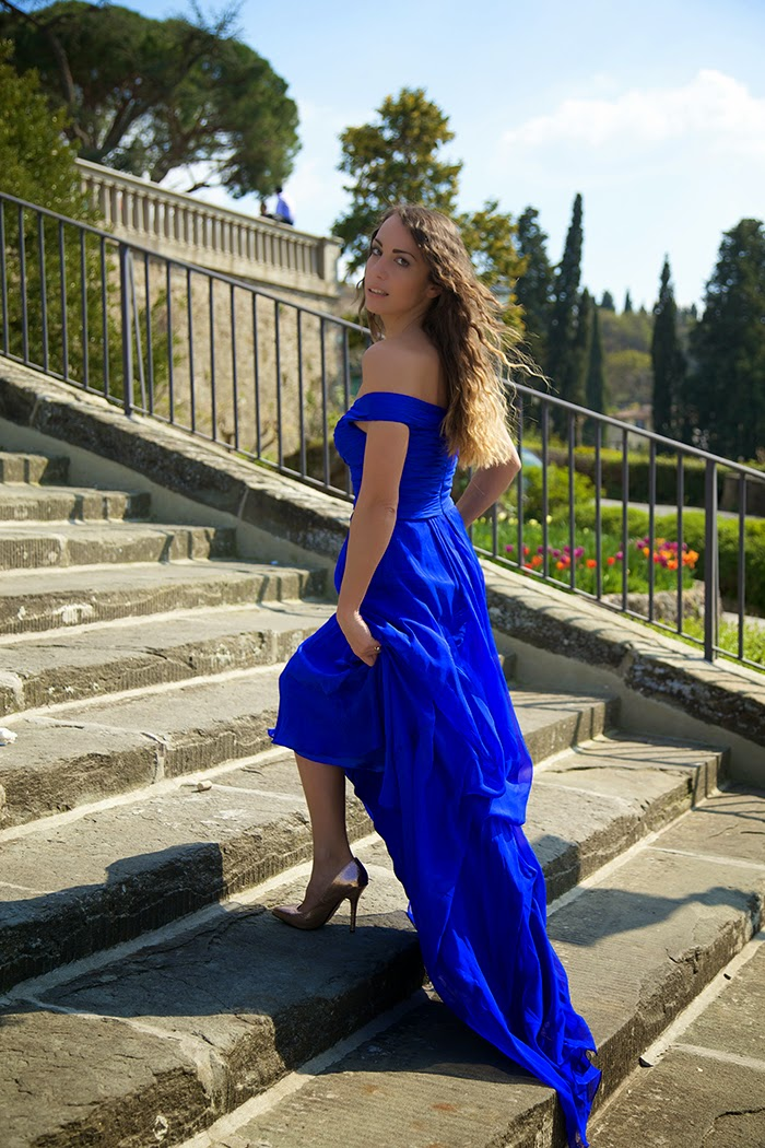 royal blue elegant dress