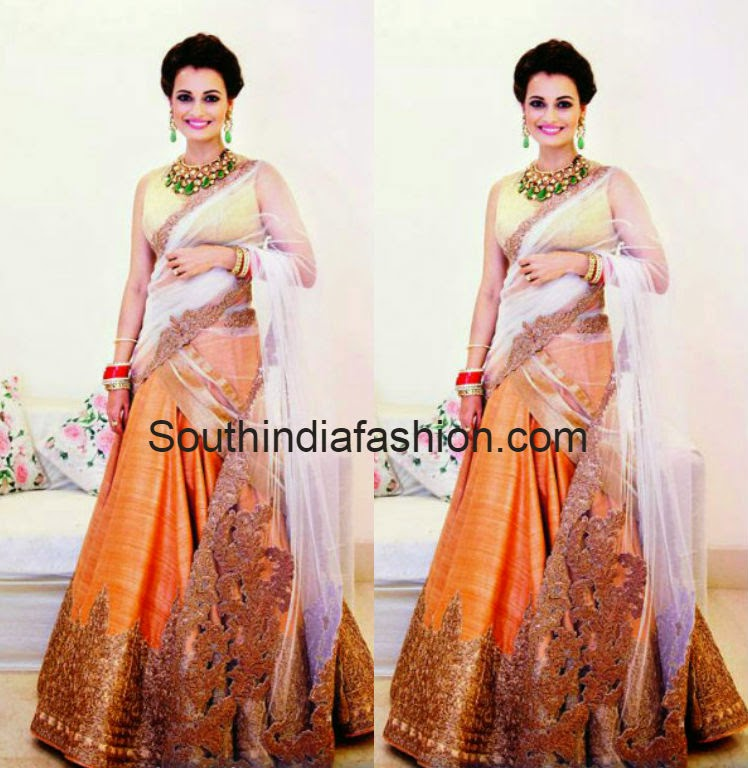 dia mirza wedding reception lehenga