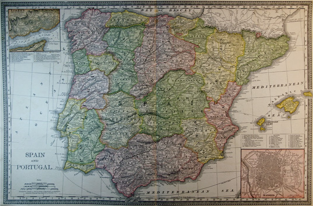 Mapa Rand McNally, España y Portugal 1887