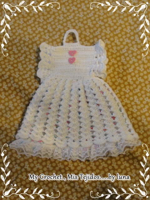 Dress Potholder and Pattern/Vestido Agarradera y su Patron