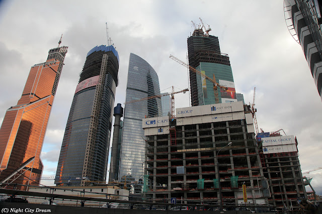 Construction photo of Moscow's skyscrapers along with the Mercury City Tower