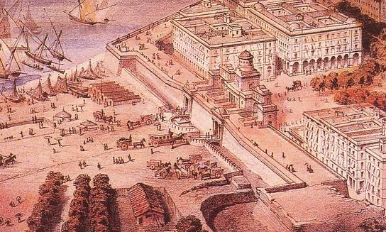 Aspecte del Portal de Mar a principis del s.XIX