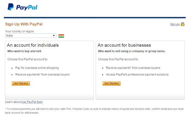 individual account, business account at Paypal