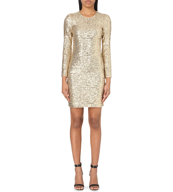 maje sequin dress, maje gold dress, long sleeved sequin dress,