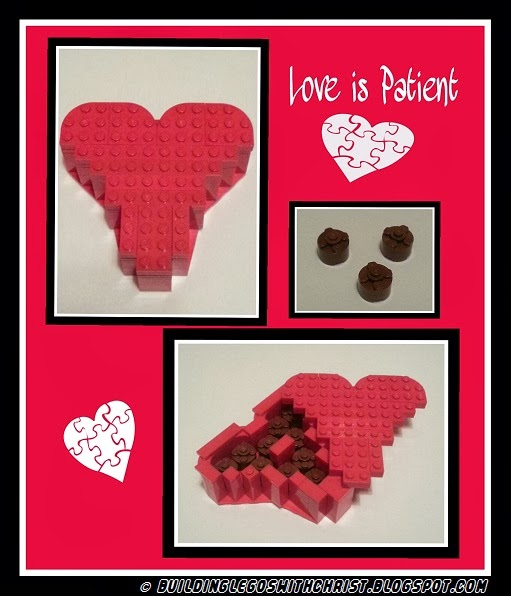 Valentine made out of LEGO bricks, Love is Patient, http://www.BuildingLegoswithChrist.blogspot.com