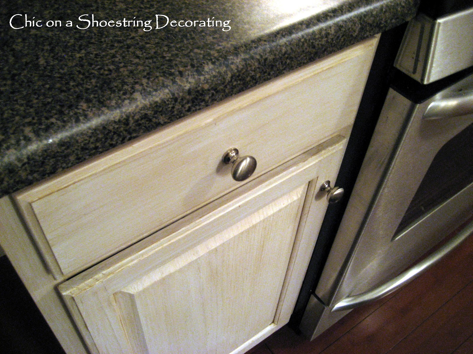 Chic on a shoestring decorating how to change your - Kitchen cabinets with handles ...