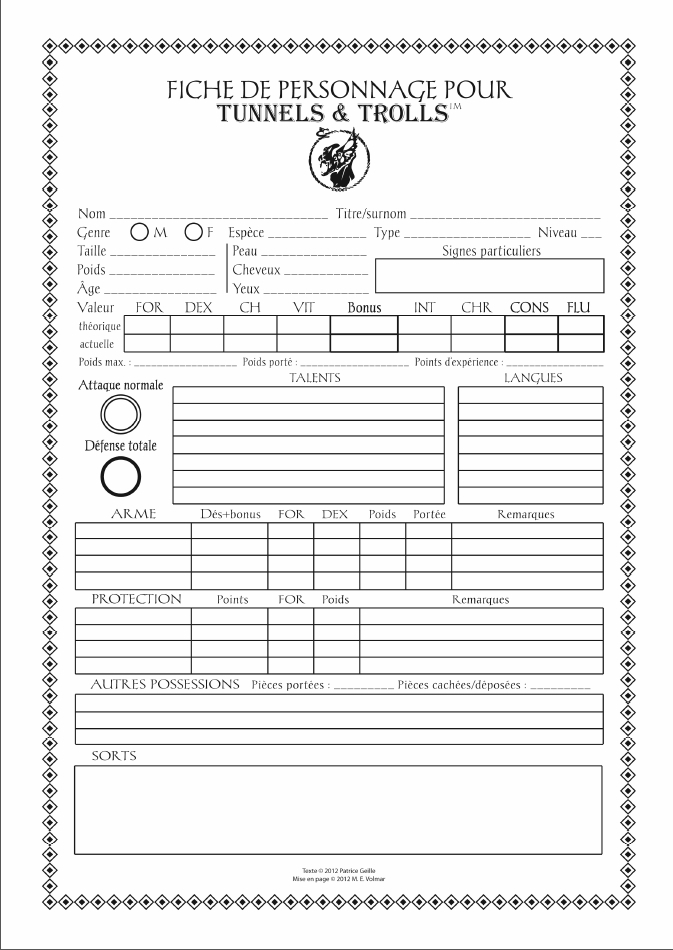 Besm 3rd Edition Character Generator