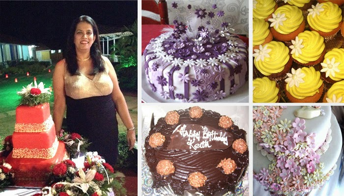 Melissa Martins of Renee's Goodies in Goa stands besides a red and gold decorated wedding cake with flowers along with yellow lemon cupcakes, chocolate ferrero rocher birthday cake, gum paste decor flowers and a purple cake with wands and tulle