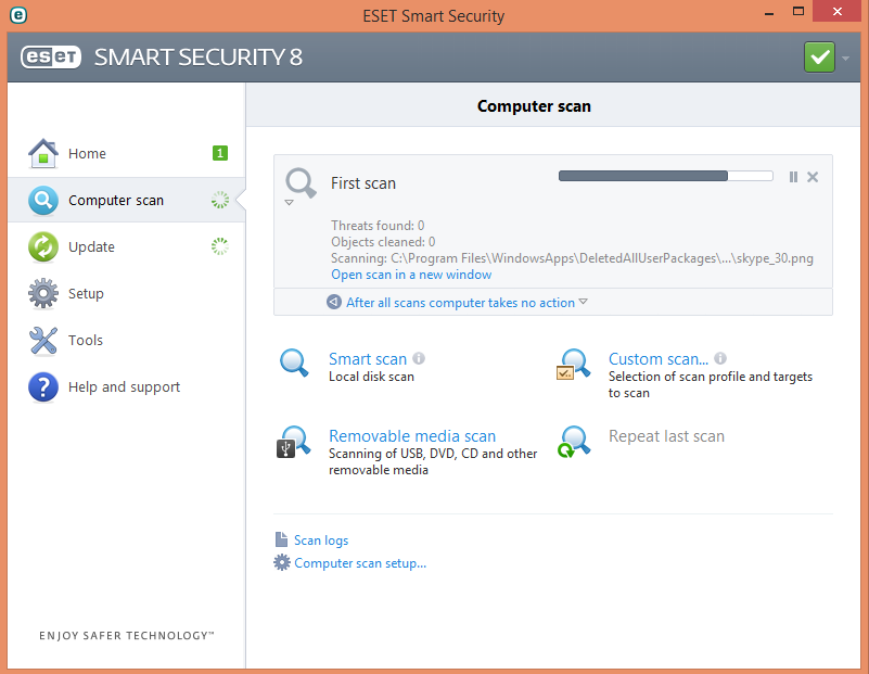 Proses scanning awal ESET Smart Security